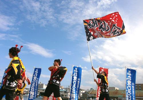 北海道の網走市育成会様のよさこい旗お写真