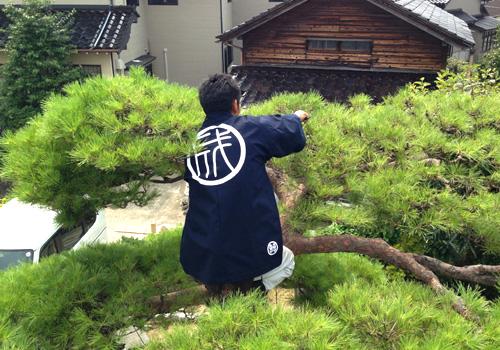 富山県の成和造園様の職人半纏お写真