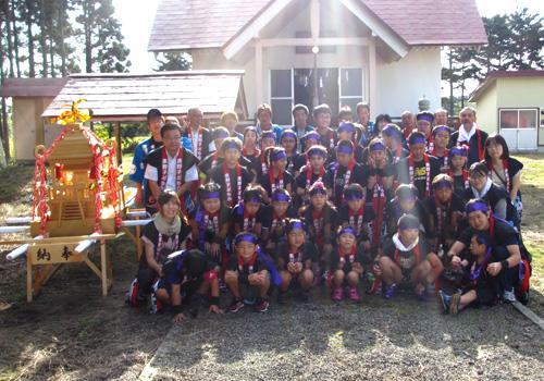 八雲町東野子ども会様の袖なし半纏のお写真