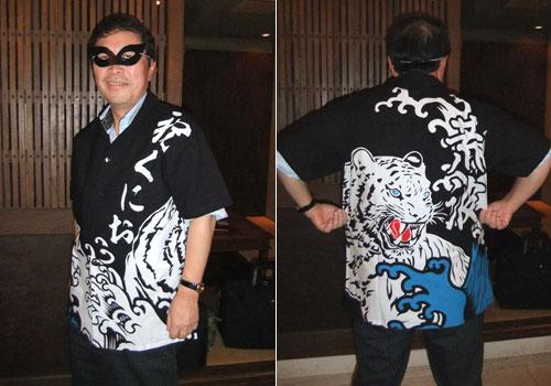 足田様の大漁旗柄アロハシャツのお写真