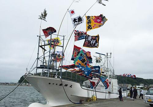 北海道貫和様の大漁旗の写真