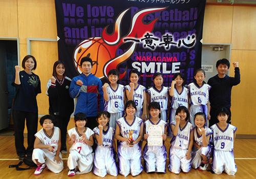 那賀川スマイルミニバスケットボールクラブ様の応援旗の写真