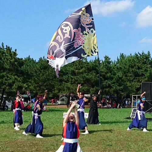 華鶴風月様のよさこい旗の写真
