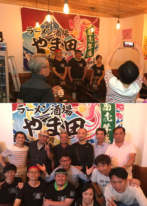 中国アモイのラーメン酒場やま田様の大漁旗の写真