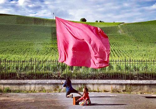 葡萄畑と青い空に深紅の旗が映えます!!