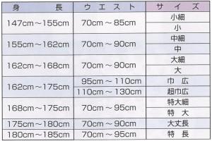 ダボシャツ、ダボ股引、ダボズボンのサイズ表