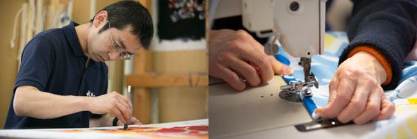 職人による大漁旗の制作工程:染色と縫製